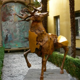 Bronze stag in a secluded enclave in Lugano