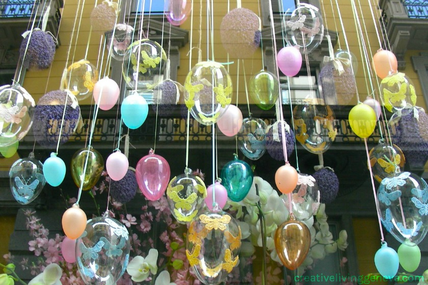Easter eggs in Lugano shop window
