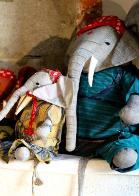 Exotic elephants at La Noyère Christmas Market.