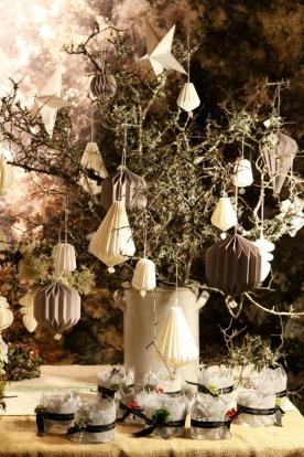 Decorative paper baubles at La Noyère.