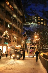 Zermatt is car-free so speedy little electric taxis rule the roads and have no patience for slow walkers.