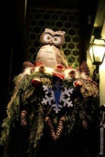 A Christmas owl stands guard outside Elsie's Bar in Kirchplatz opposite the church.