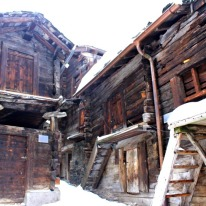 Wonderfully preserved homes/barns in central Zermatt village.