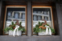 Festive window decorations are abundant after Christmas.