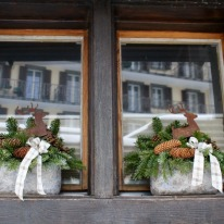 Festive window decorations are abundant after Christmas.