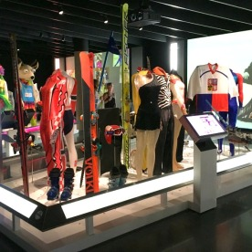 Equipment, outfits and mascots from past Winter Olympic Games.