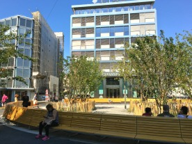Place du Rhône or as I call it, Tiffany Square, has been decorated with new semi-circular benches and tree saplings.
