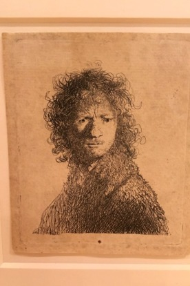 Rembrandt used his own image to practice different facial expressions. Here he shows himself pouting.