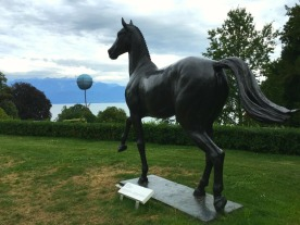 "Bronze statue of ""Jappeloup"", the French show jumping champion at the Seoul Olympics in 1988."