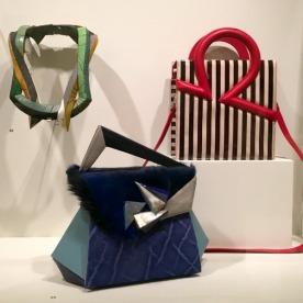 Necklace (top,left) by Jean-François Perena; leather handbags by Chris Murner of L'Antre-Peaux.
