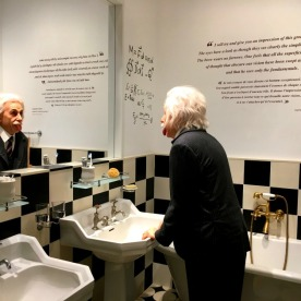 A family bathroom recreated as an homage to Albert Einstein.