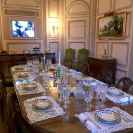 The family dining room and family films at the Manoir de Ban.