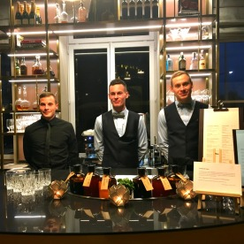 Fabien, Clement and Gautier tend the art deco bar.